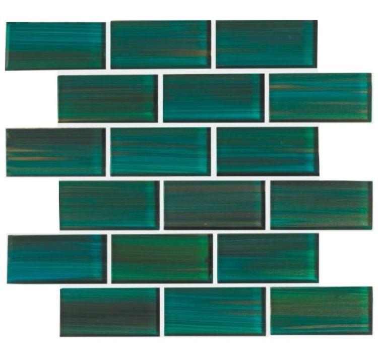 Venice Forest Green 2x4 Subway  Glass  Mosaic