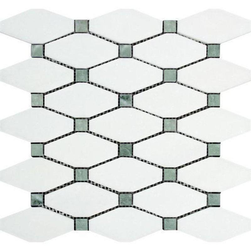 Thassos White Long Octagon W/ Ming-Green Dots Polished Marble  Mosaic