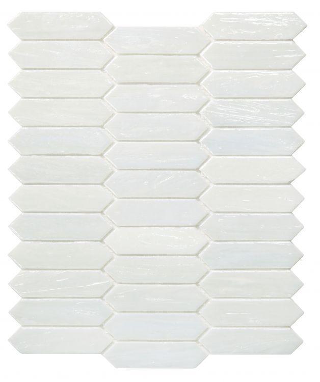 Hot Arrow White Pearl Elongated Hexagon  Glass  Mosaic