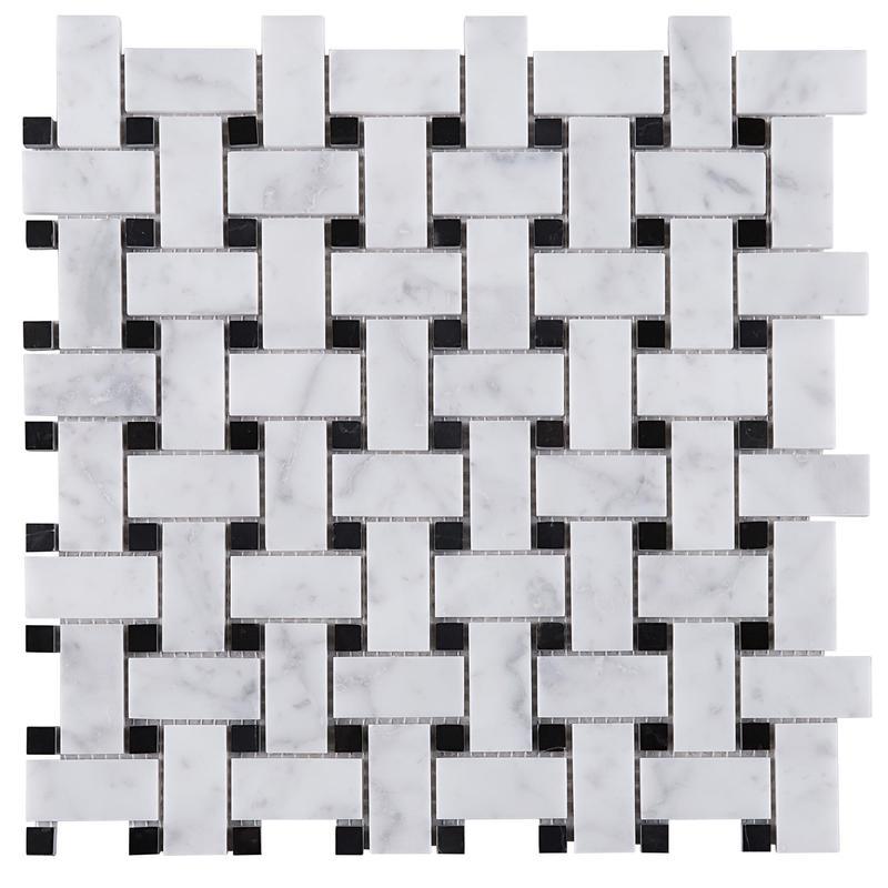 Marble White Carrara W Black Grey Triple-Weave Honed   Mosaic
