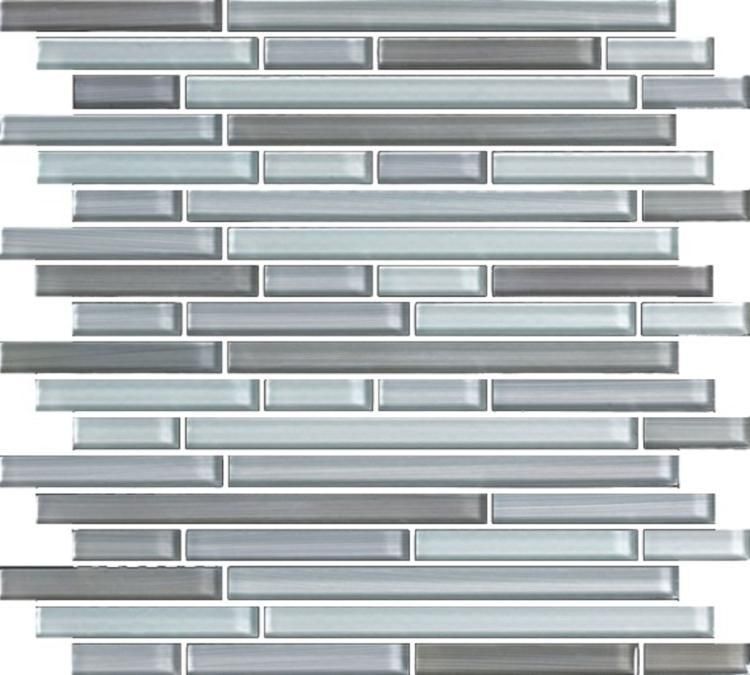 Linear Glass Grey Goose Glossy   Mosaic