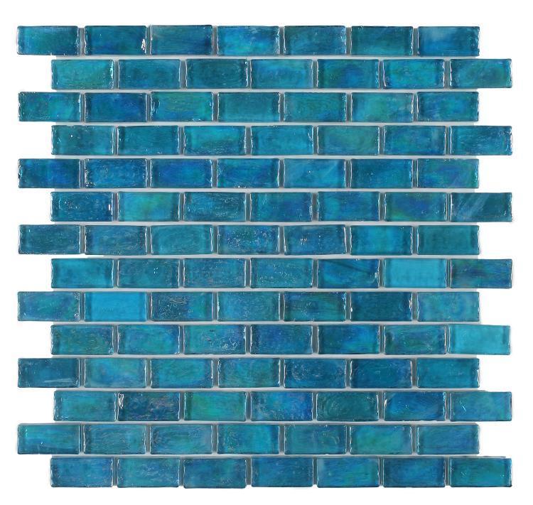 Malibu Blue Brick  Glass  Mosaic