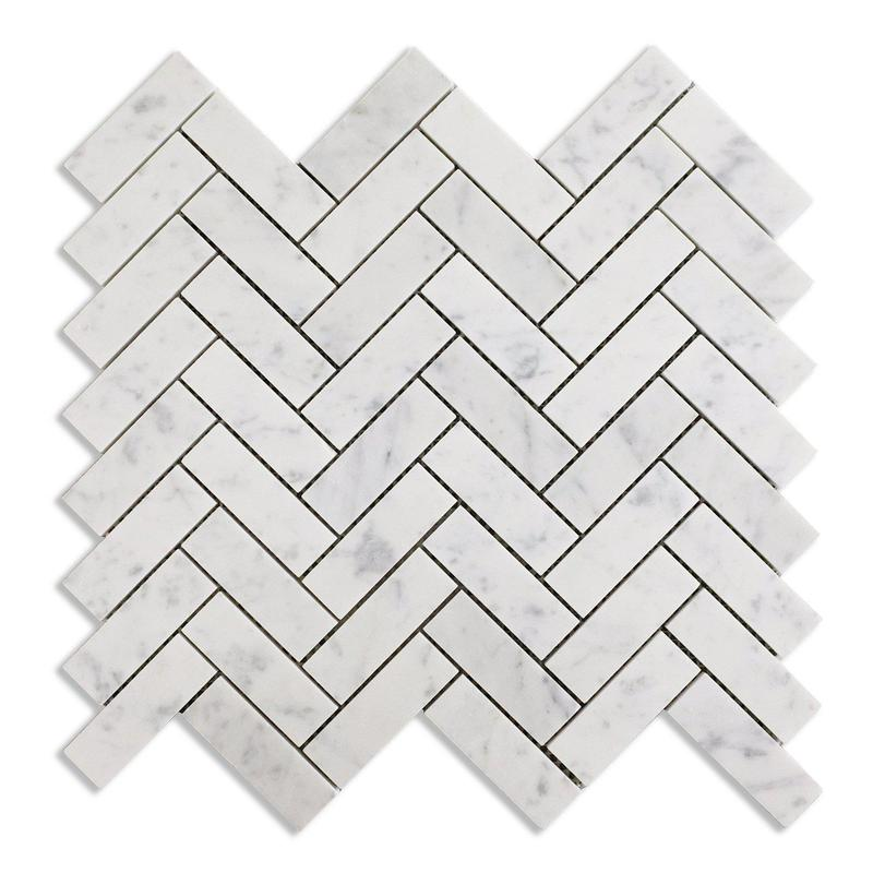 Carrara White 1x3 Herringbone Polished Marble  Mosaic