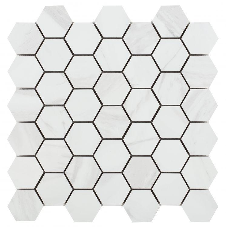 Volakas Premium 2x2 Hexagon Polished, Glazed Porcelain  Mosaic