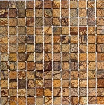 Marble Rain Forest Brown 1x1 Square Tumbled   Mosaic