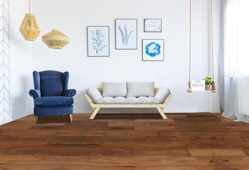 Mesa Hickory Collection Rustic Honey 7.5xfree length, Wire-Brushed, Brown, Engineered-Wood
