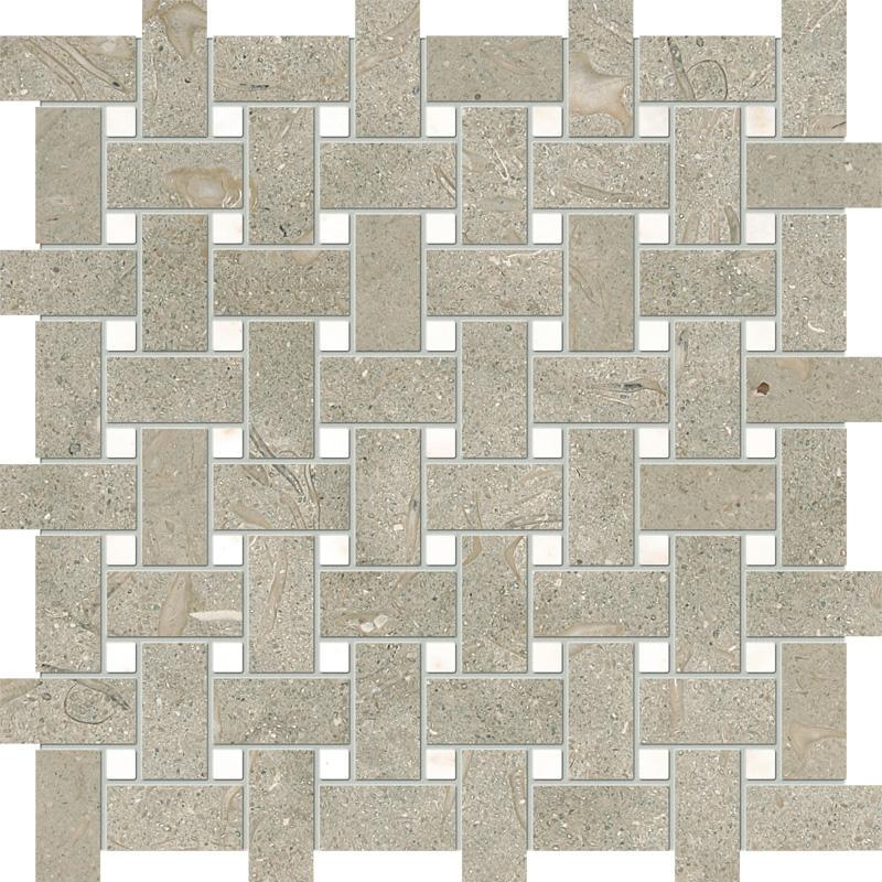 Limestone Seagrass Basketweave W Afyon Sugar Dot Honed   Mosaic (Discontinued)