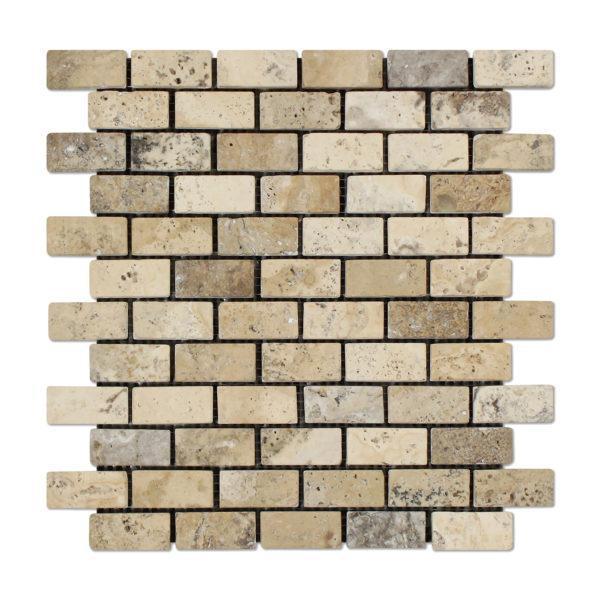 Philadelphia 1x2 Brick Tumbled Travertine  Mosaic