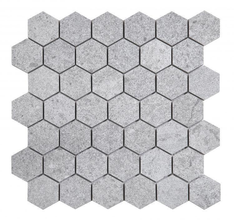 Grant Grey 2x2 Hexagon Matte, Glazed Porcelain  Mosaic
