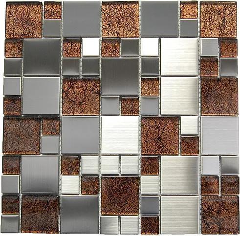Stainless Steel Mosaic Emperador Dark Glass Mix Mixed
