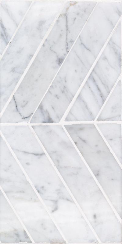 Sto Re Carrara 1-1/2x9 Chevron Polished Natural Stone  Mosaic