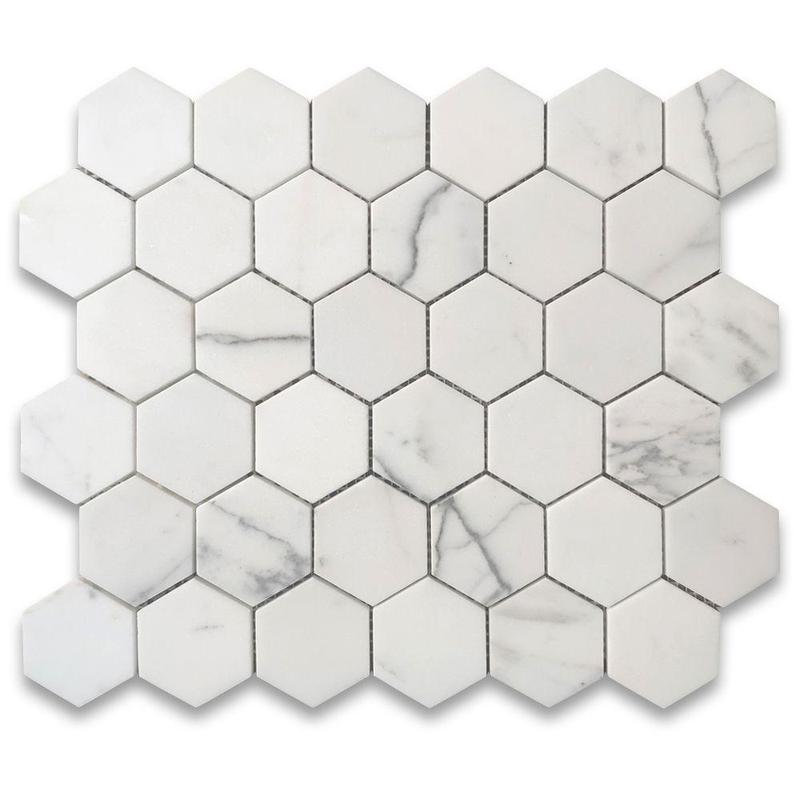 Marble Statuary White 2 in Hexagon Honed   Mosaic (Discontinued)