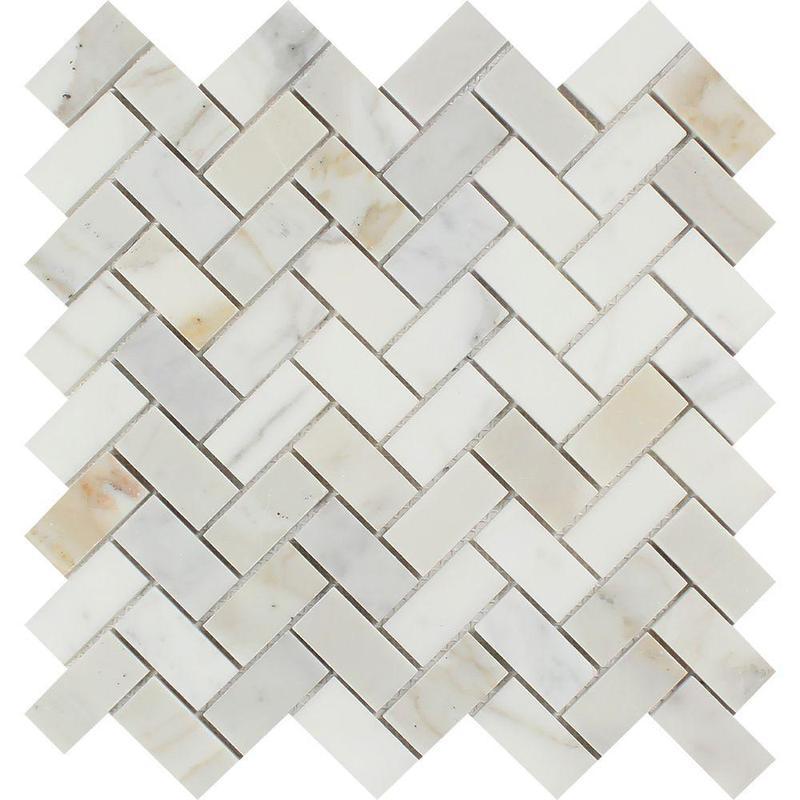 Marble Calacatta Gold 1x2 Herringbone Honed   Mosaic