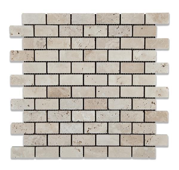 Travertine Collection Ivory 1x2 Brick Tumbled   Mosaic