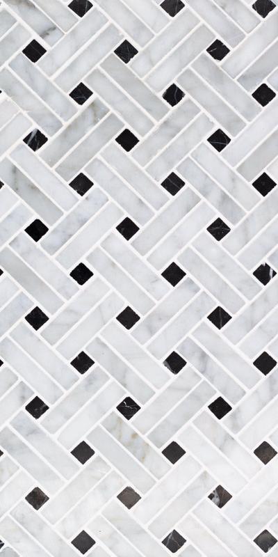 Sto Re Carrara 5/8x2 Stanza W/ Black Dots Polished Natural Stone  Mosaic