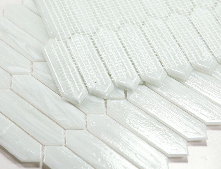 Hot Arrow White Elongated Hexagon  Glass  Mosaic