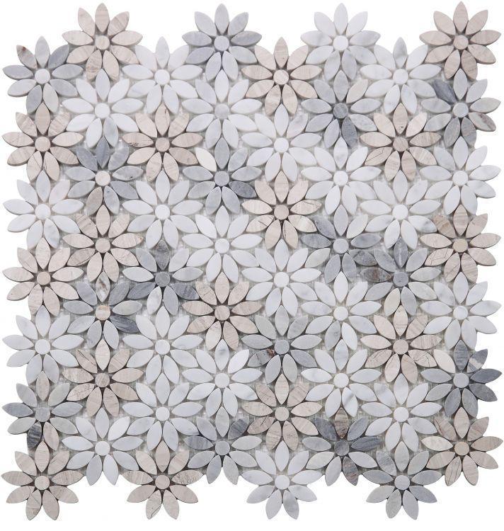Daisy Wild Sky Flower Polished Marble  Mosaic