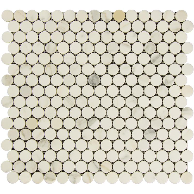 Marble Calacatta Gold Pennyround Honed   Mosaic