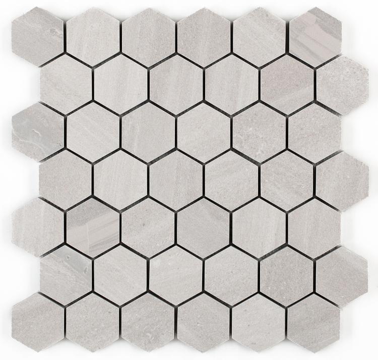 Sand Stone White 2x2 Hexagon  Porcelain  Mosaic