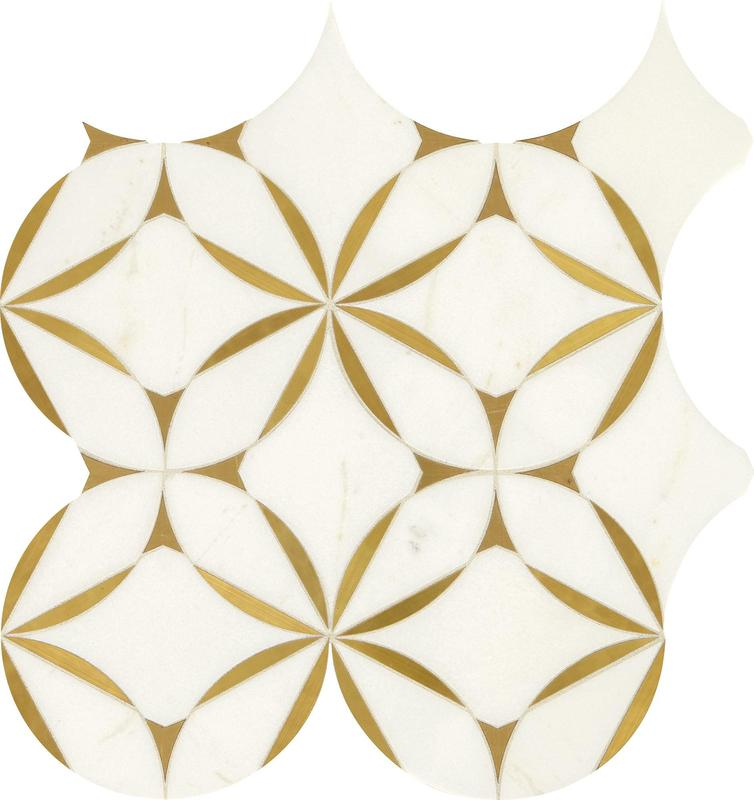 Lavaliere Thassos White Brass Matte, Blossom, Natural-Stone, Mosaic