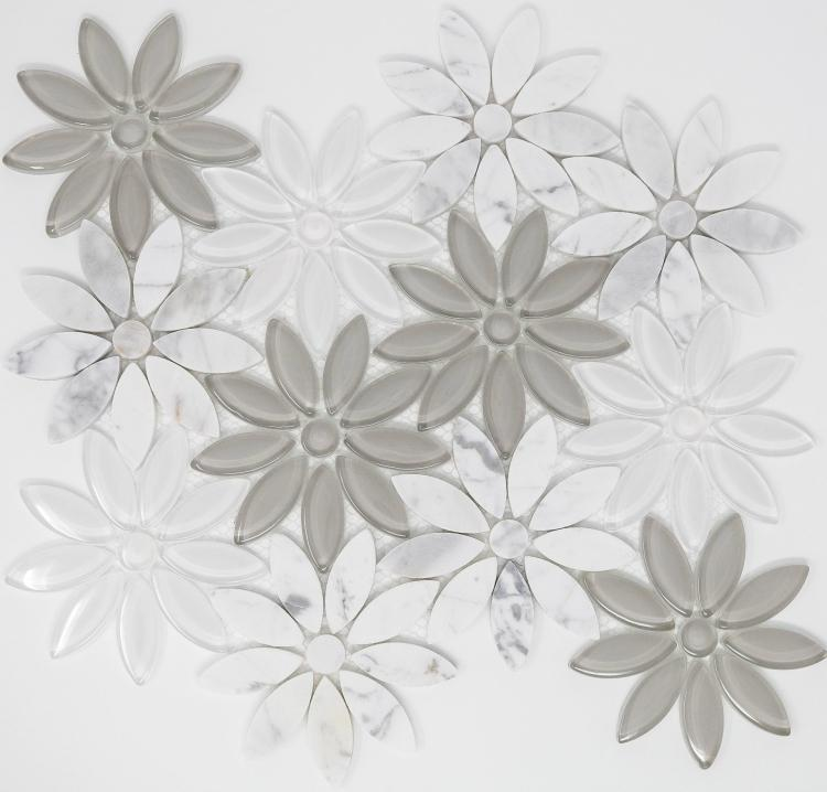 Daisy Grey Flower  Glass  Mosaic