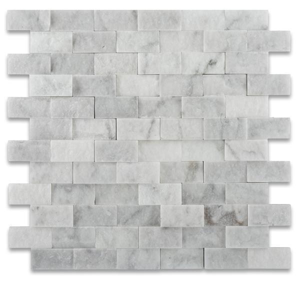 Oriental White Asian Statuary Marble 1x2 Brick Split-Face   Mosaic