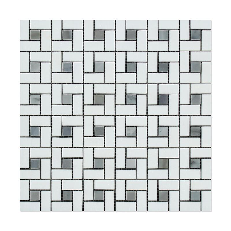 Marble Thassos White W Grey Pinwheel Honed   Mosaic