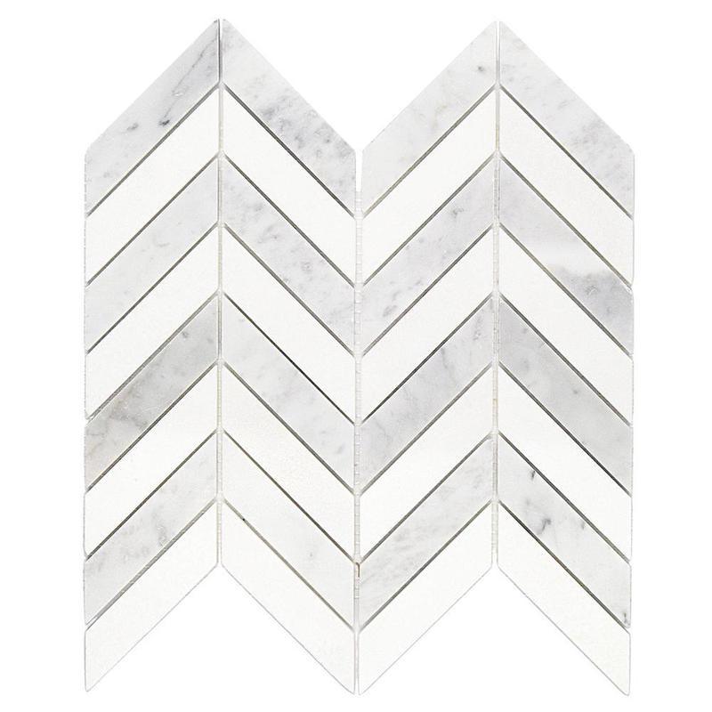 Marble Thassos White Chevron Mix W Thin Strips Large Honed   Mosaic