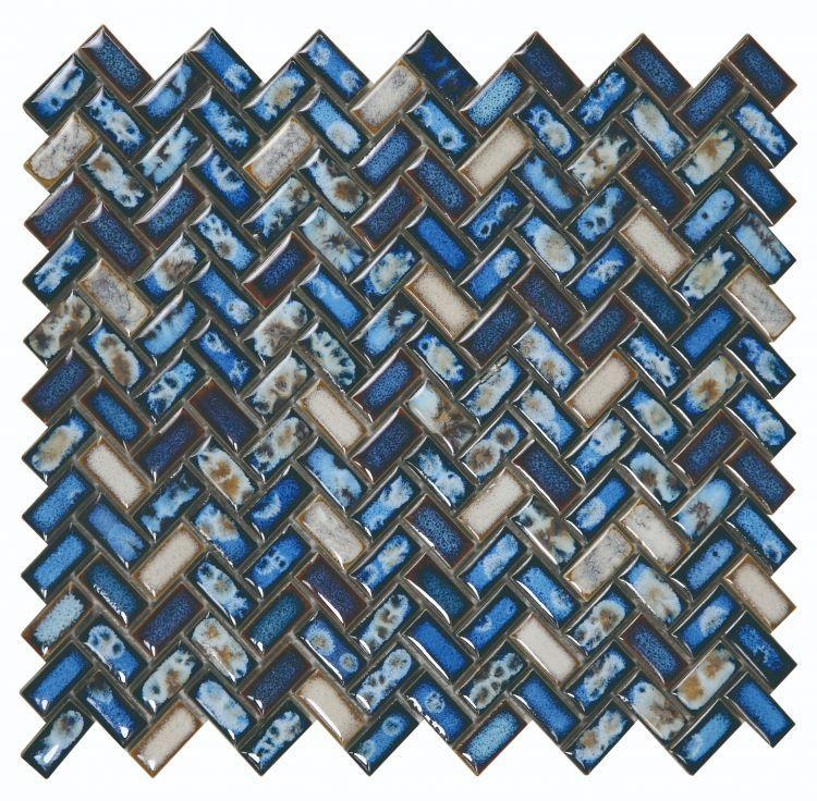 Hulu Tango Sapphire Herringbone  Porcelain  Mosaic