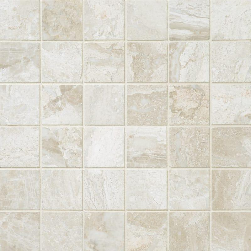 Diano Royal Queen Beige Café Marble 2x2 Square Polished   Mosaic