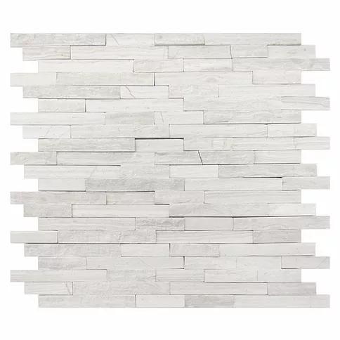 Stone Mosaic White Oak Honed, Split-Face Marble
