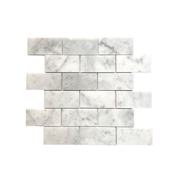 Stone Mosaic Carrara White 2x4 Brick Polished Marble
