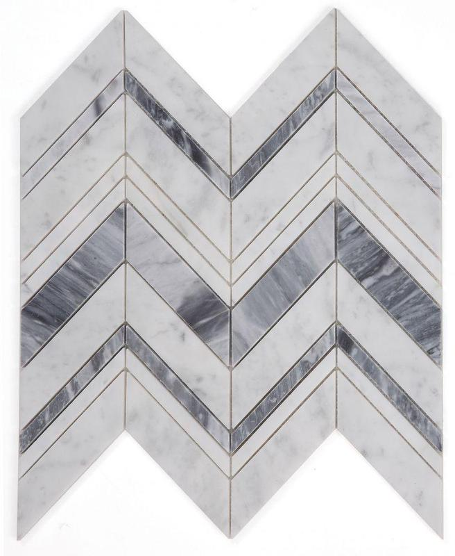 Chevron Herringbone Ravenna Lava Polished Marble  Mosaic