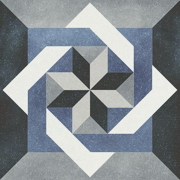 Fluer Isabelle 6x6, Glazed, Blue, Gray, White, Square, Porcelain, Tile
