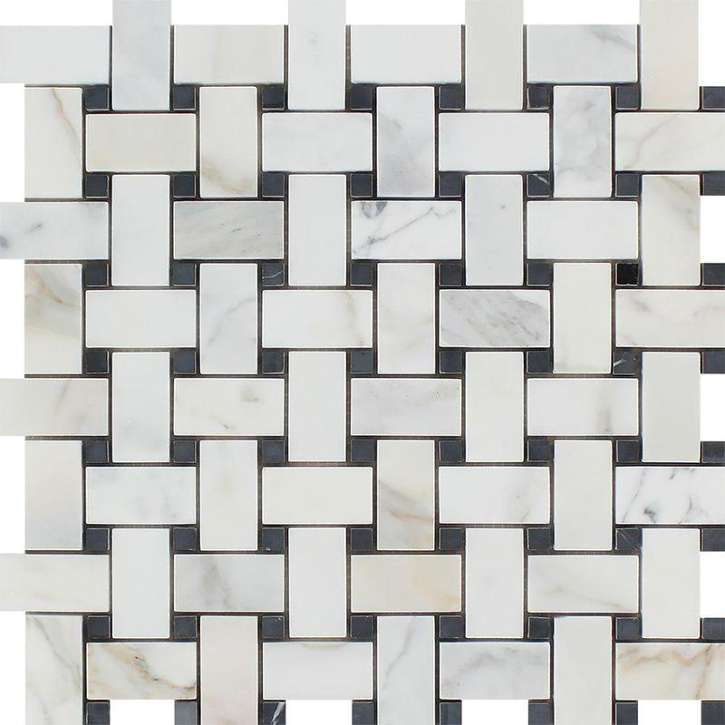 Marble Calacatta Gold Basketweave W Black Dot Honed   Mosaic