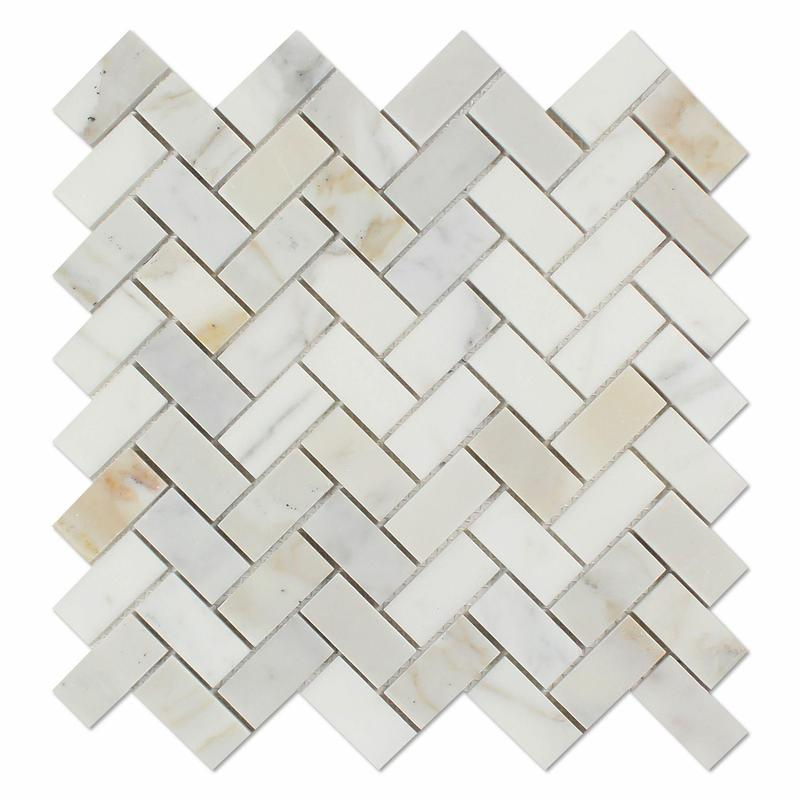 Calacatta Gold 1x2 Herringbone Honed Marble  Mosaic