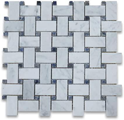 Marble White Carrara Basketweave W Dark Blue Dot Polished   Mosaic