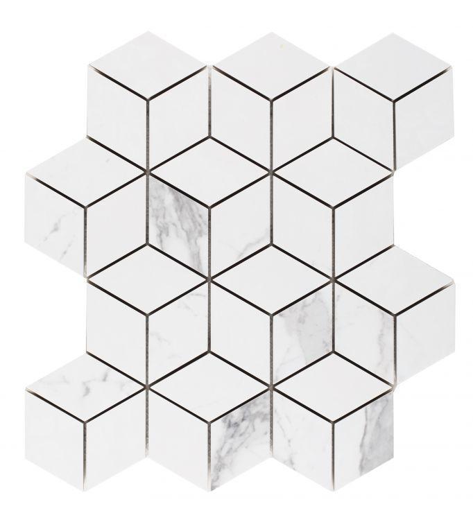 Carrara Premium Cube Matte, Glazed Porcelain  Mosaic