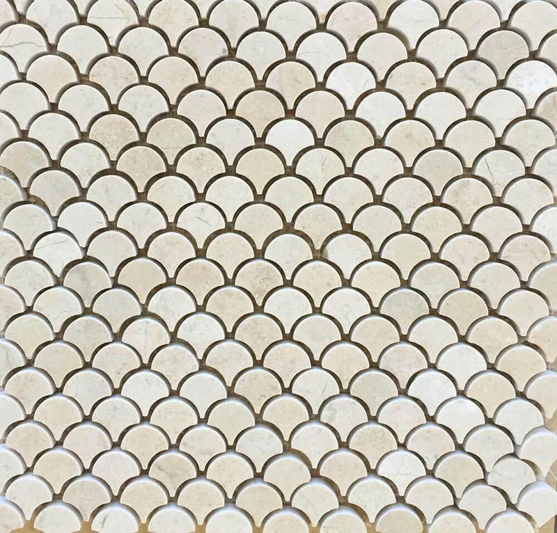 Marble Crema Marfil 1 in Fan Polished   Mosaic