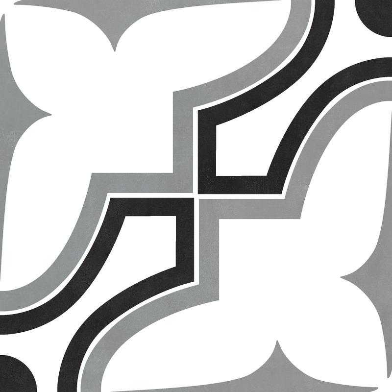 Casablanca Market 8x8, Matte, Black, White, Square, Porcelain, Tile