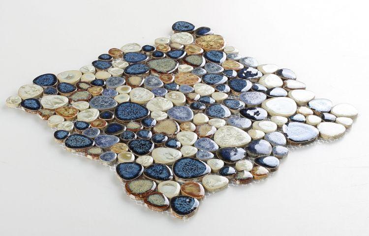Growing Blue Pebble  Porcelain  Mosaic