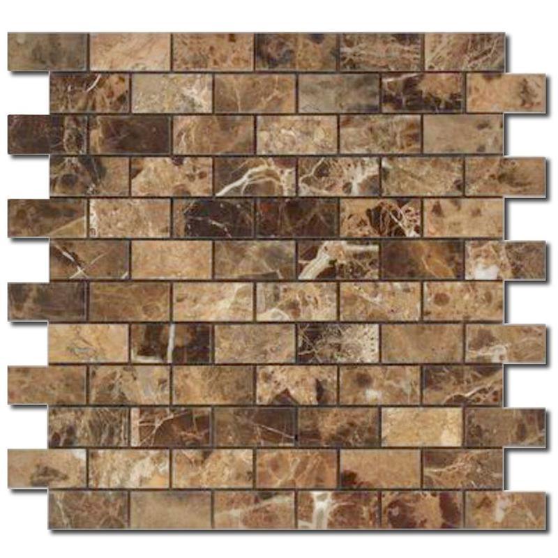 Emperador Dark 1x2 Brick Honed Marble  Mosaic