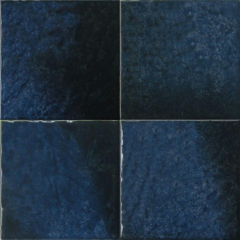 Seabreeze Waterline Midnight Blue 6x6, Glazed, White, Black, Square, Porcelain, Tile