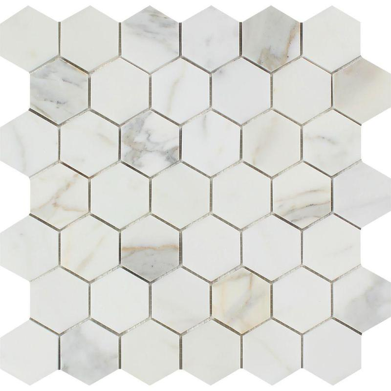 Marble Calacatta Gold 2 in Hexagon Polished   Mosaic