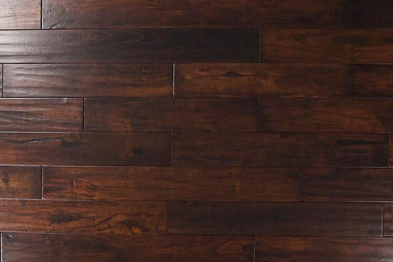 Exotic Walnut Acacia Dark 4.75xfree length, Hand-Scraped, Brown, Small-Leaf-Acacia, Engineered-Hardwood, Wood