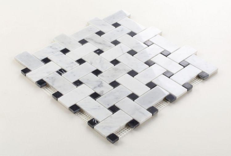 Precious Stone Cross Tuxedo Windmill Polished Marble  Mosaic