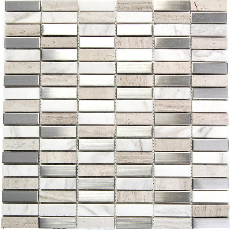 Stainless Steel Mosaics Chameleon Hb Ygt003-2 Stone Mix 0.63x2  Polished   Mosaic (Discontinued)