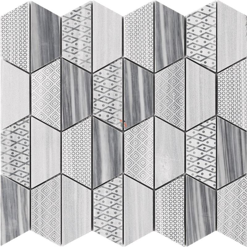 Carve Bardiglio Hexagon Polished Marble  Mosaic (Discontinued)
