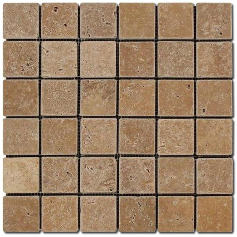 Travertine Collection Noce 2x2 Square Tumbled   Mosaic