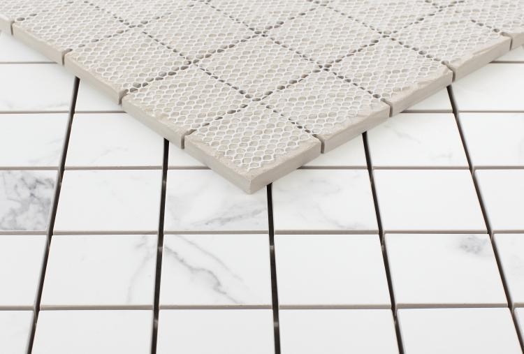 Carrara Premium 2x2 Square Glazed, Matte Porcelain  Mosaic